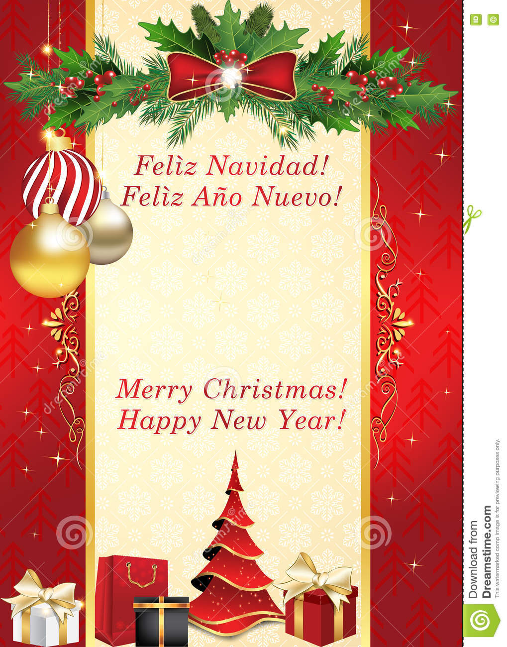 Merry Christmas And Happy New Year - Spanish Greeting Card Stock ...