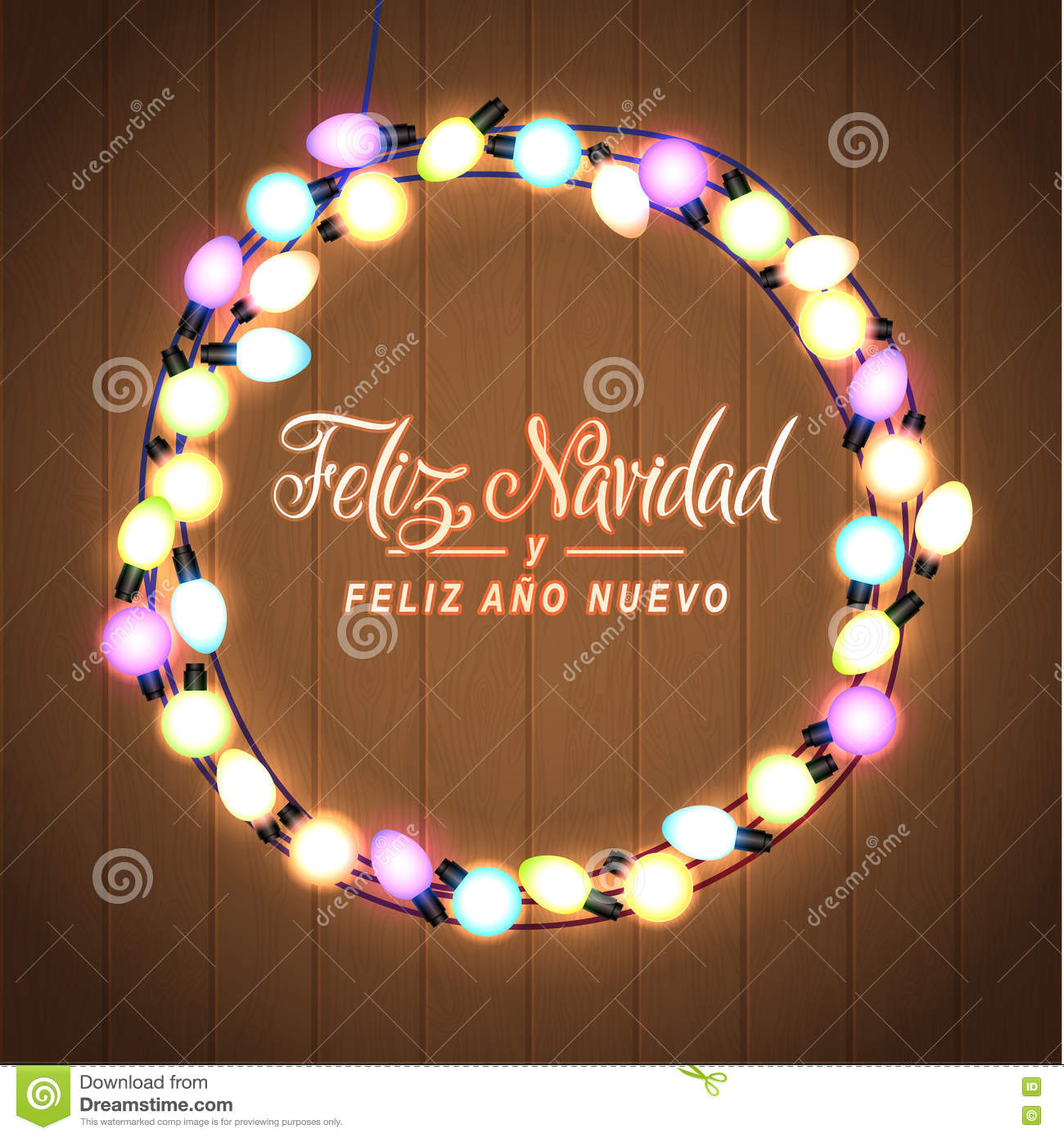 download merry christmas and happy new year spanish language glowing christmas lights wreath for - Merry Christmas And Happy New Year In Spanish