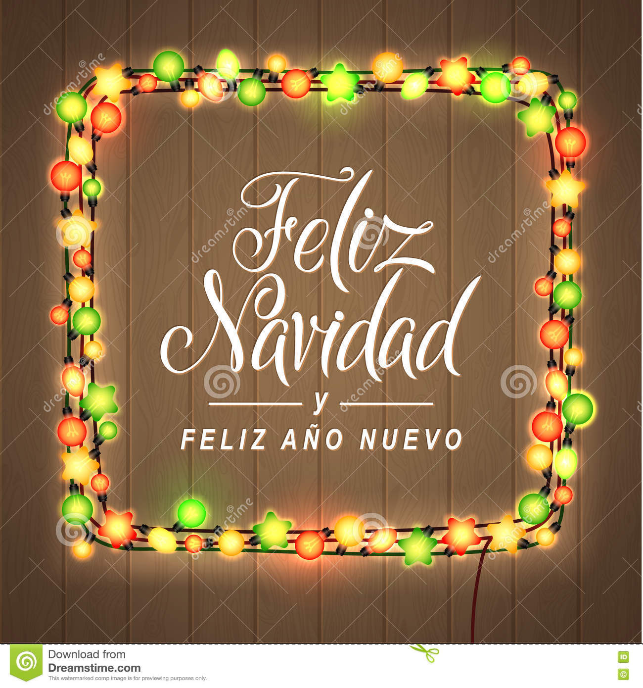 download merry christmas and happy new year spanish language glowing lights wreath for xmas