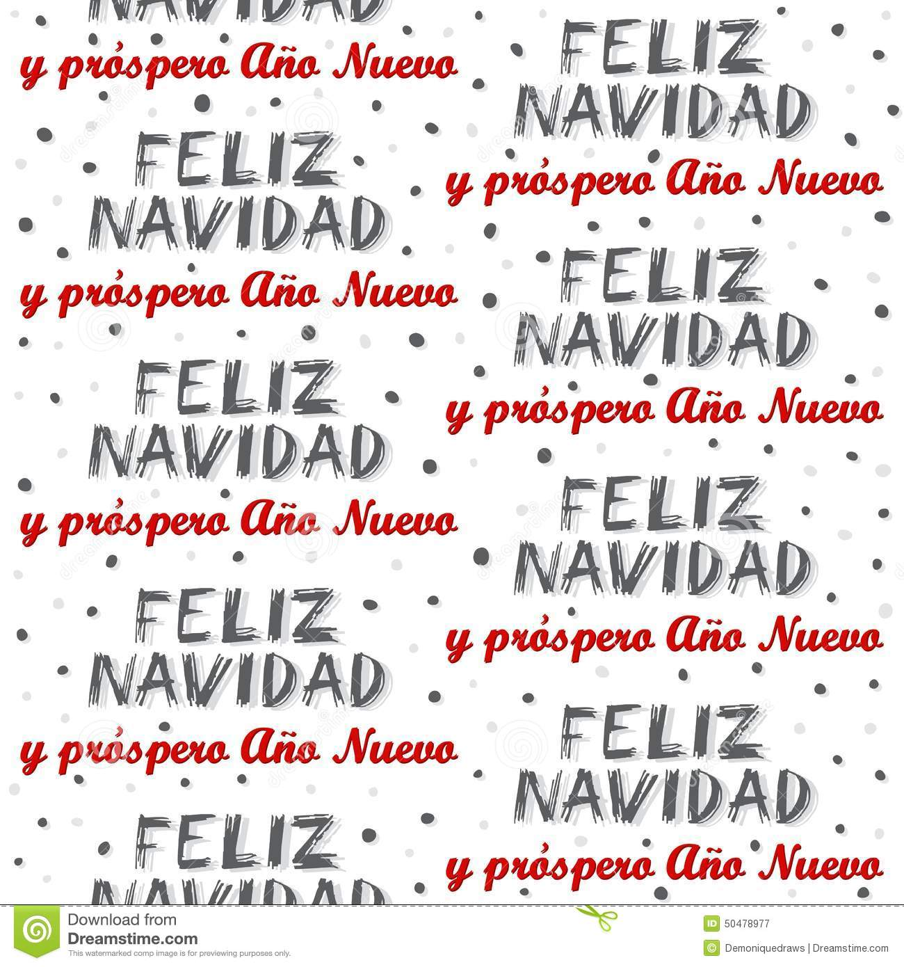 Merry Christmas And Happy New Year In Spanish Seamless Pattern On ...