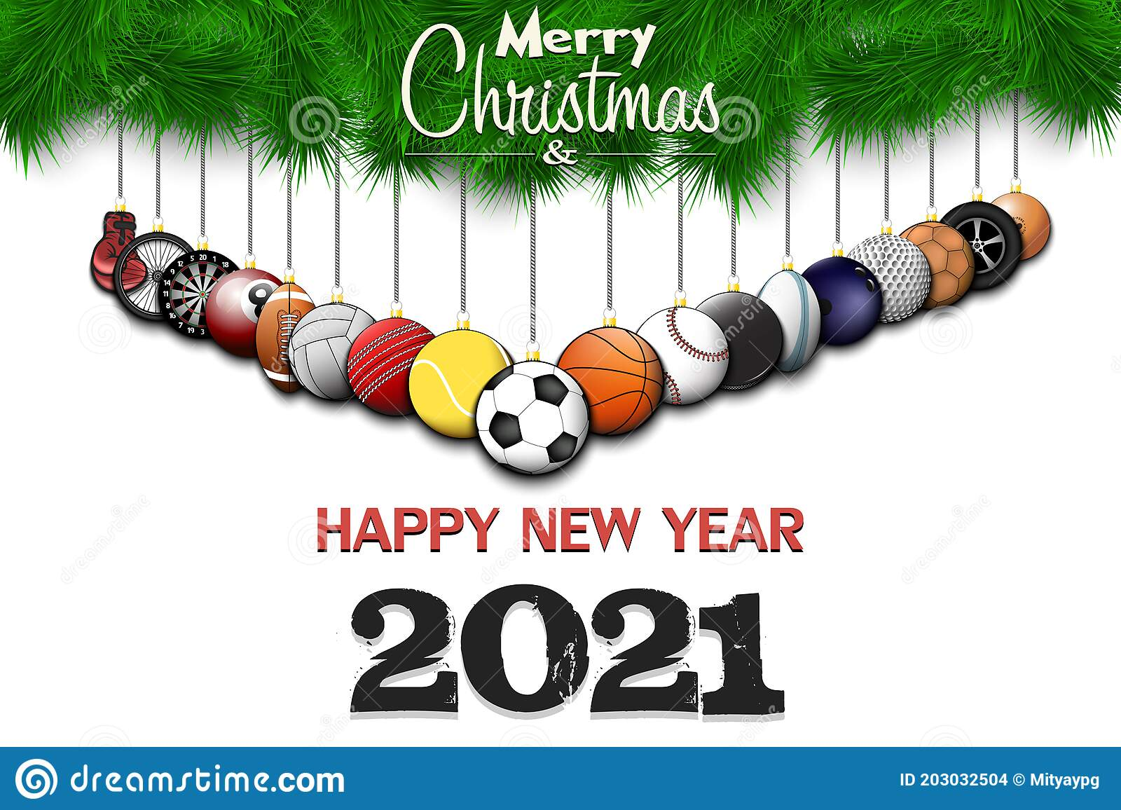 Hanging Banner Images Merry Christmas & Happy New Year 2021 Merry Christmas And Happy New Year Sport Decor Stock Vector Illustration Of Hockey Branch 203032504
