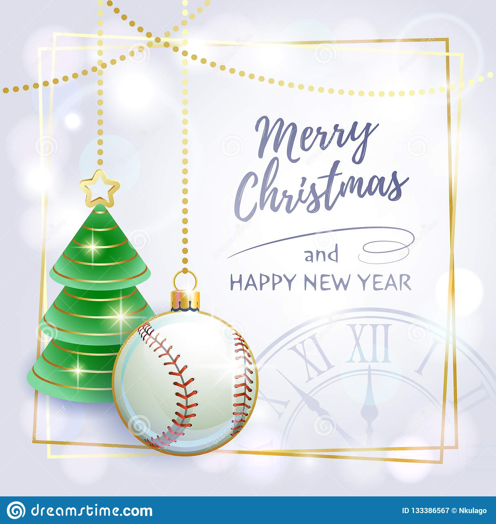 happy new year sports greeting card baseball