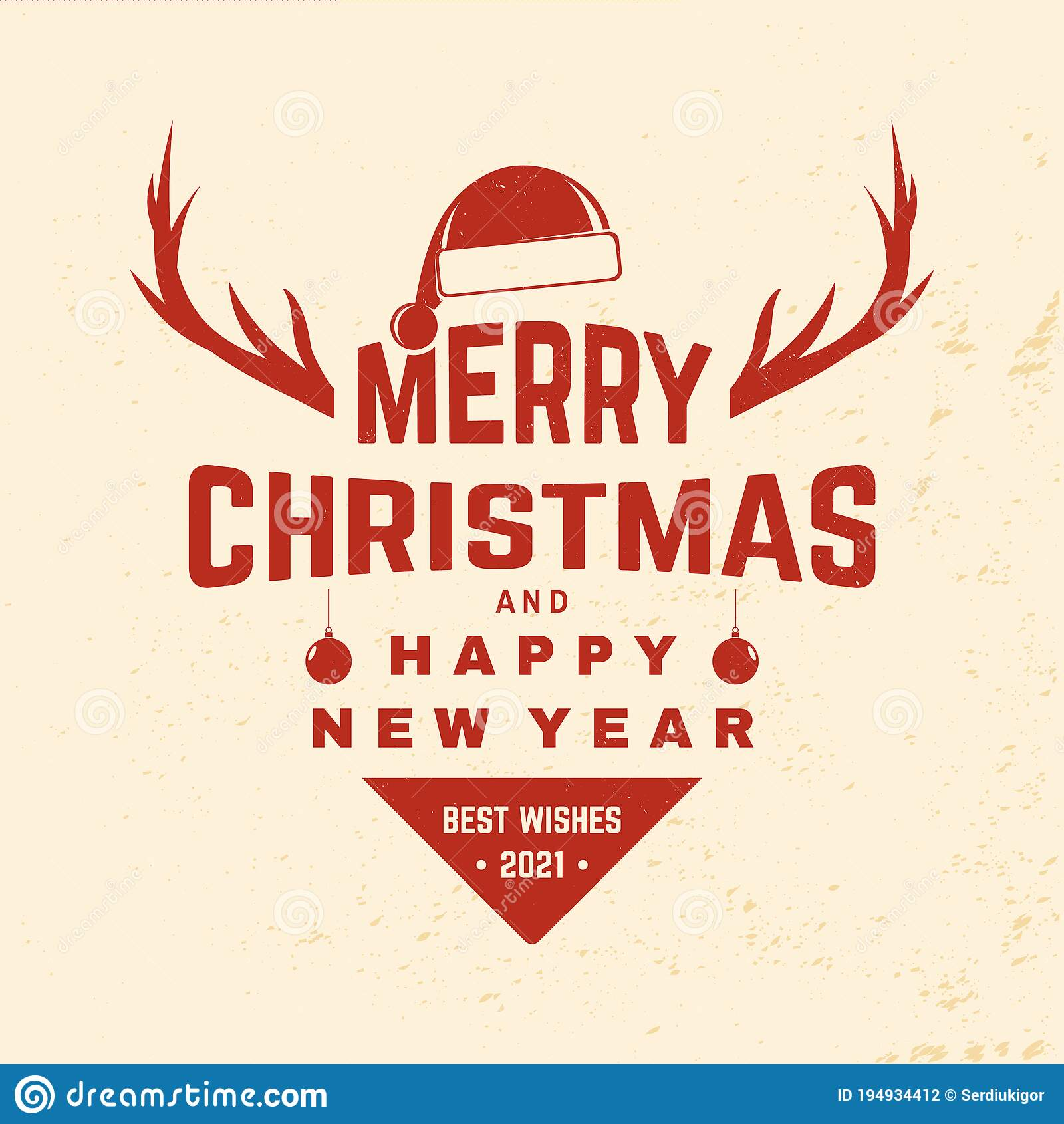 Hanging Banner Images Merry Christmas & Happy New Year 2021 Merry Christmas And Happy New Year Stamp Sticker With Elk Christmas Hat Hanging Christmas Ball Vector Vintage Stock Vector Illustration Of Card Overlay 194934412