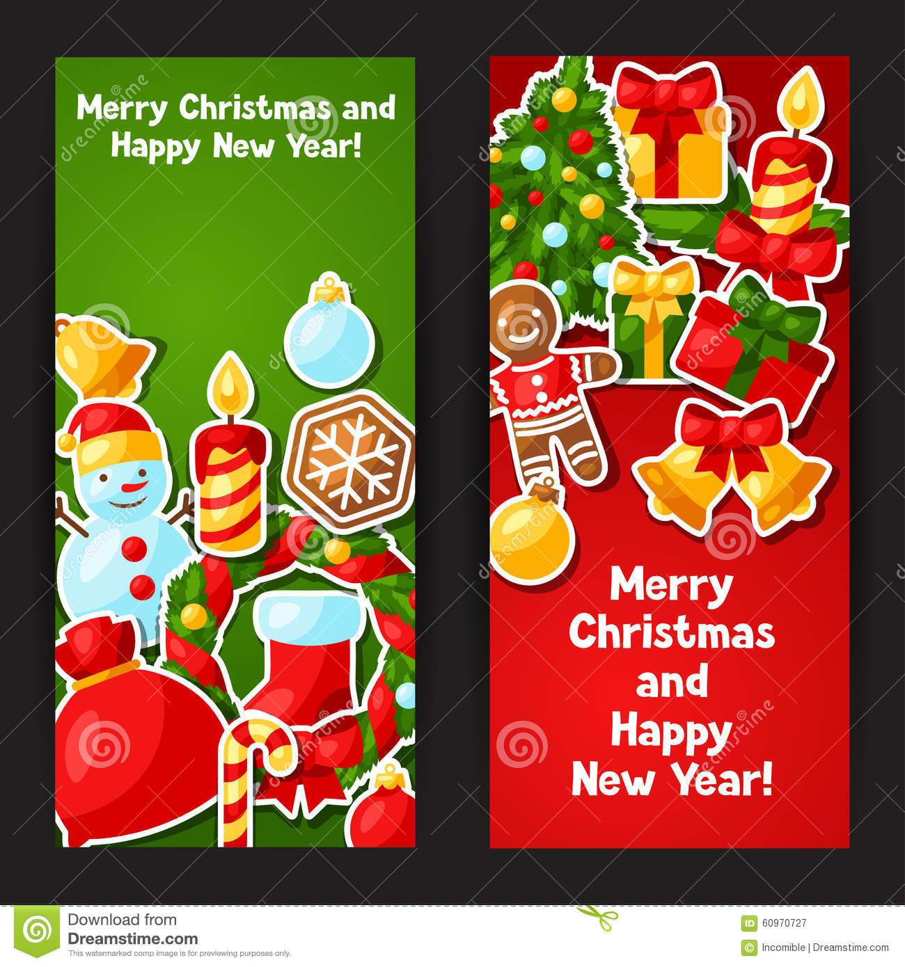 Merry christmas and happy new year sticker banners stock vector