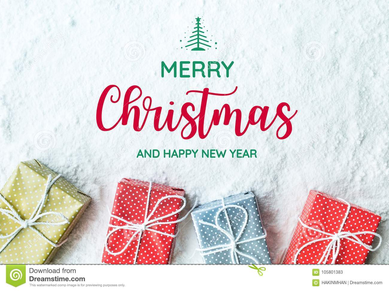 Merry Christmas And Happy New Year Text With Gift Box,present Stock Image - Image of card ...