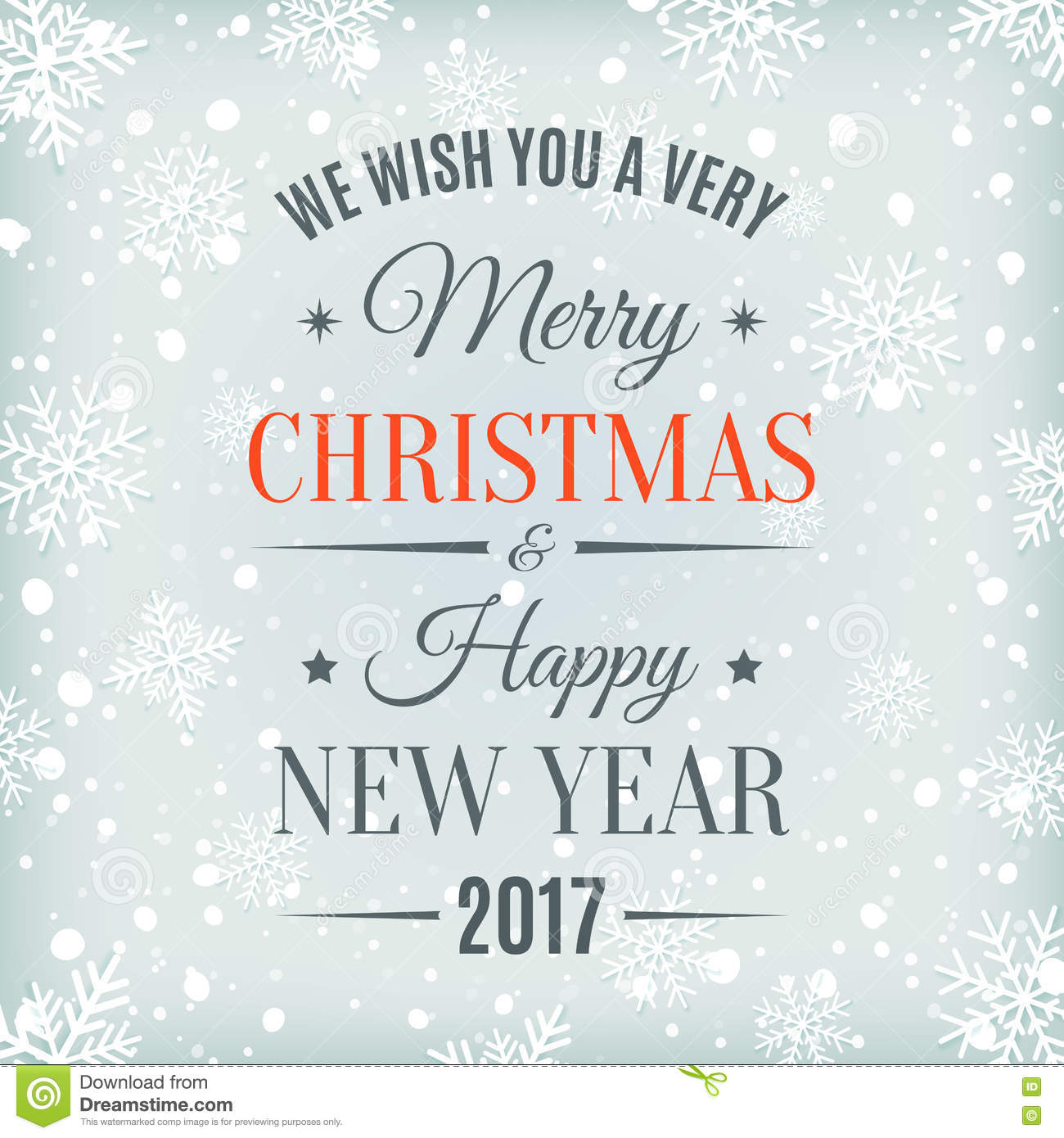 Merry Christmas And Happy New Year 2017. Stock Vector ...