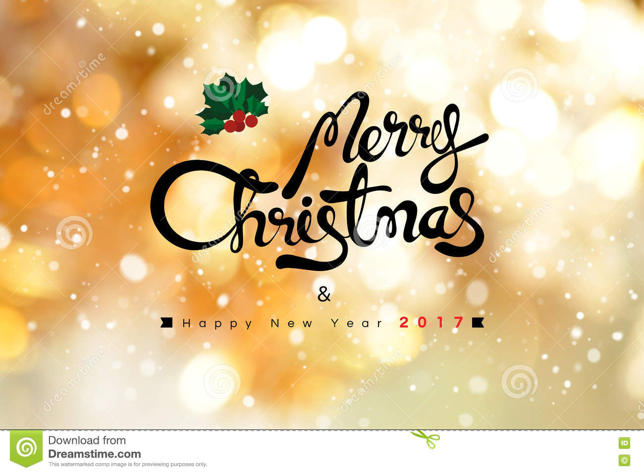 Merry Christmas and Happy New Year 2017 text on shiny gold bokeh background