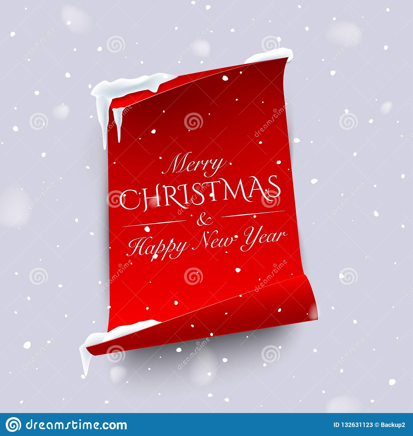 merry christmas and happy new year text on vertical red paper with curved edges isolated on