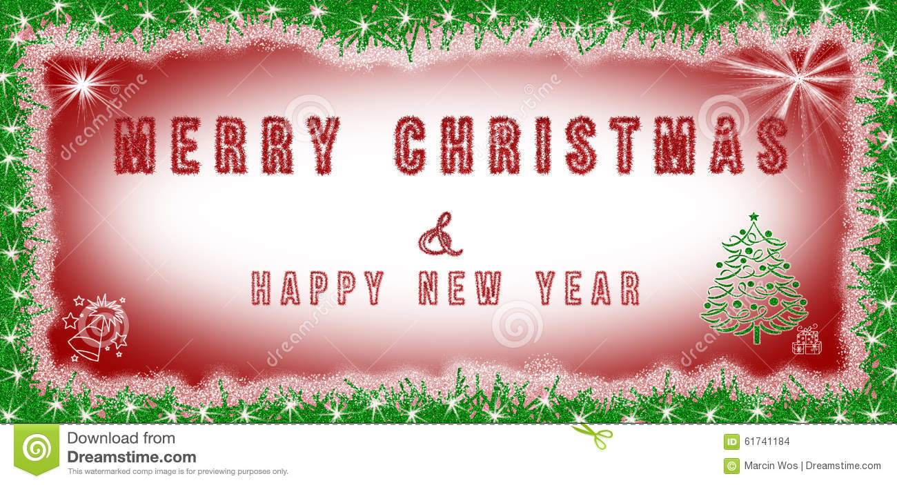 Merry Christmas Amp Happy New Year Text Written On Red And