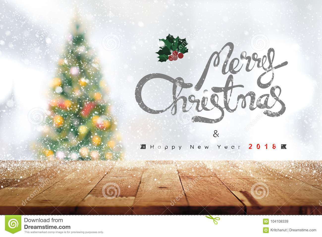Merry Christmas And Happy New Year 2018 Texts Above Wood Table T