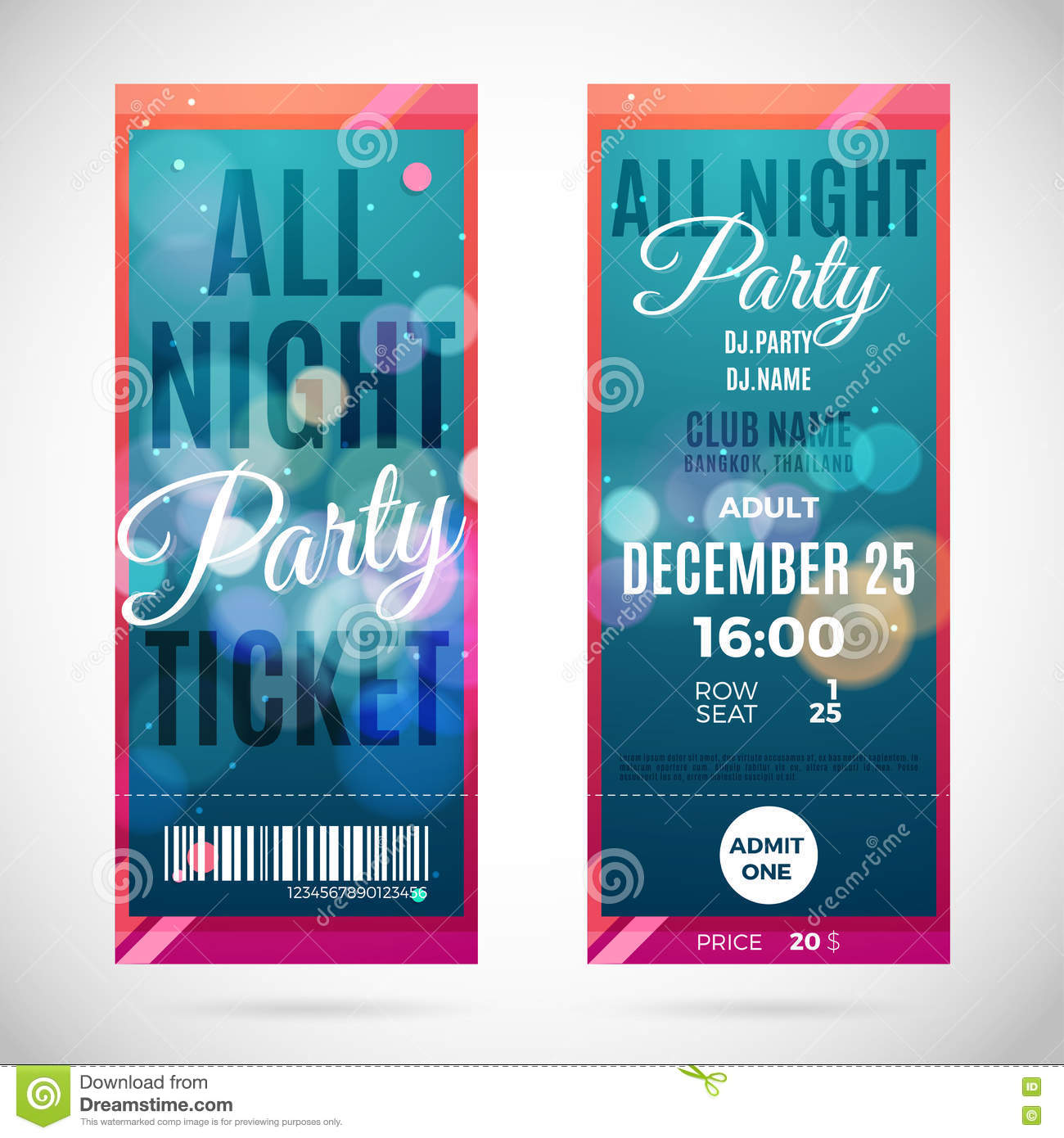 Vector Christmas Party Ticket Card Design Template Vector – Broadway Ticket Template