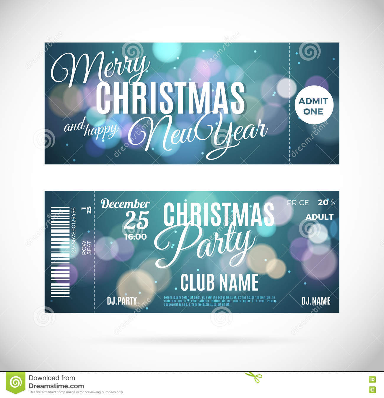 Christmas Party Ticket Template Free: Christmas Fly Air Ticket In Green Envelope Isolated Over