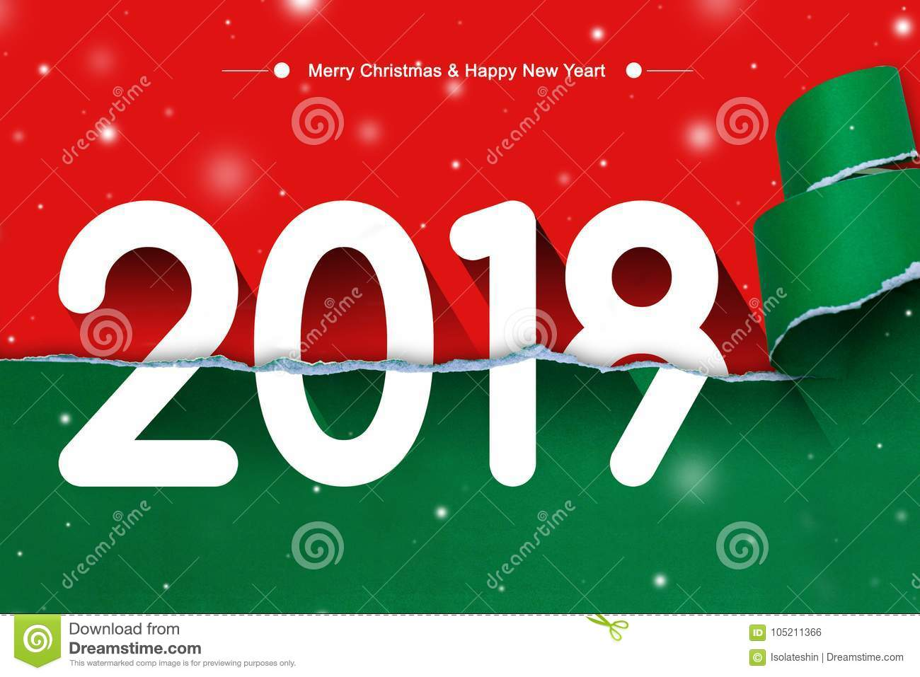 merry christmas and happy new year with 2018 on torn paper red and green background