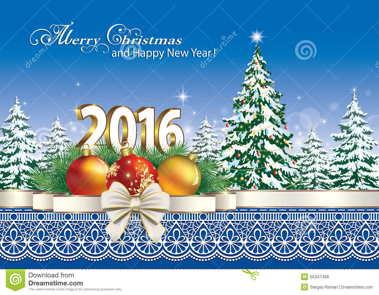 merry christmas and happy new year 2016 stock vector