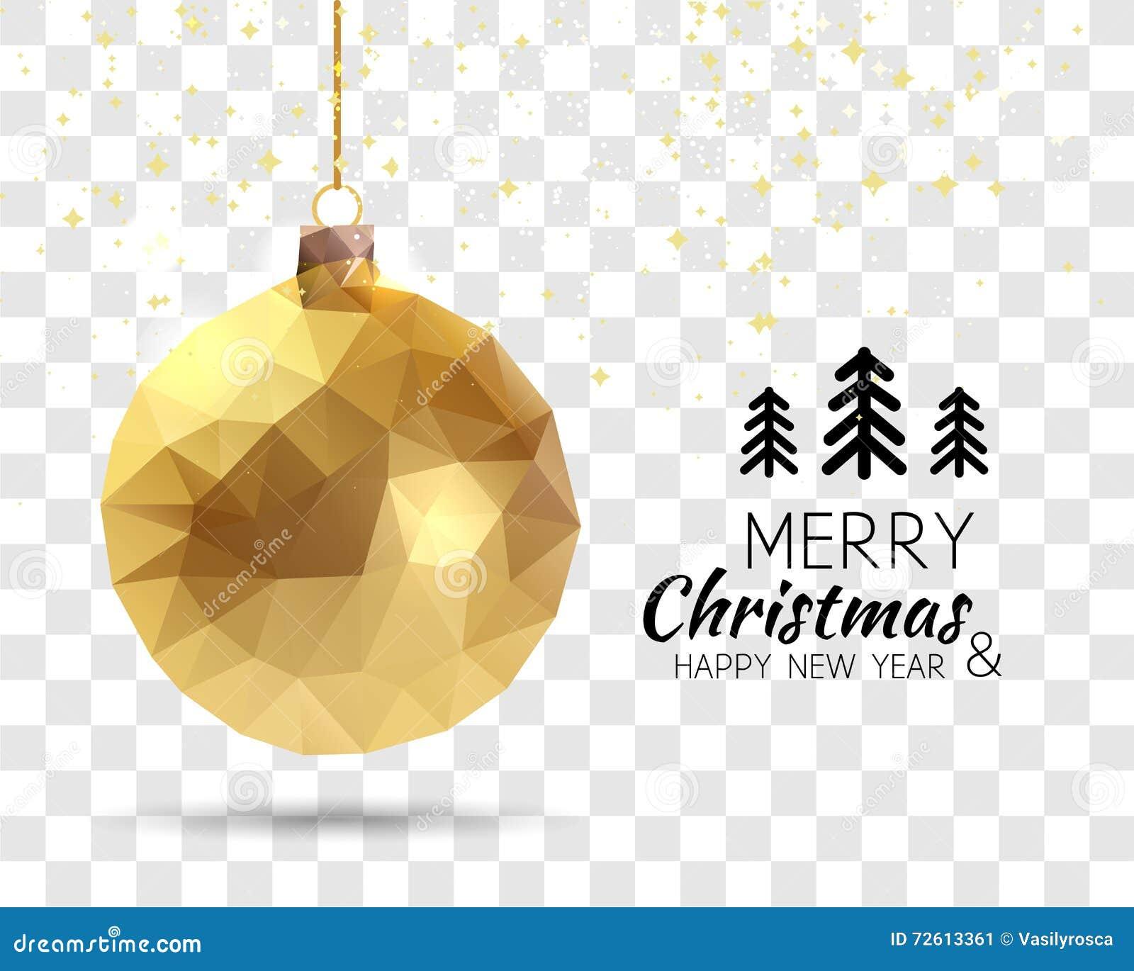Merry Christmas Happy New Year Trendy Triangular Gold Xmas Ball ...