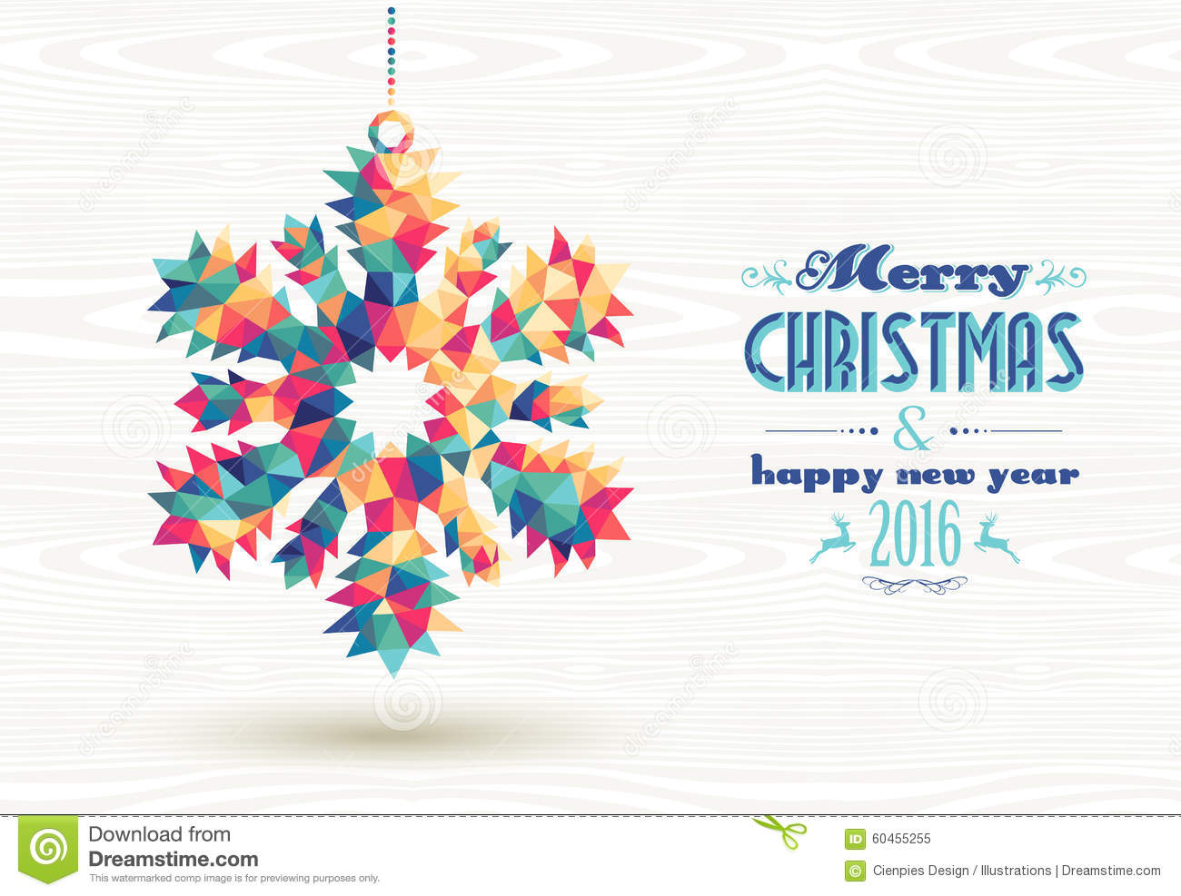 Merry Christmas Happy New Year 2016 Triangle Snow Stock
