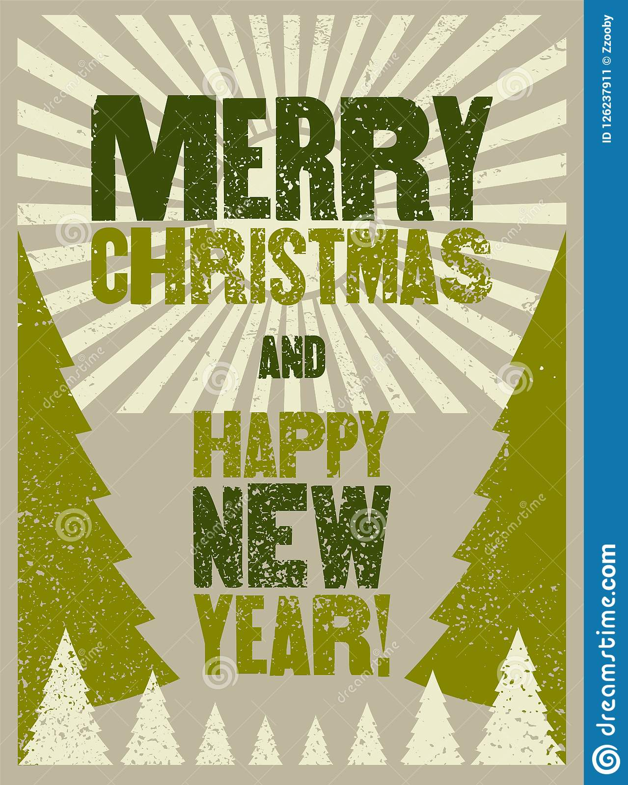 Merry Christmas And Happy New Year. Typographic Grunge Vintage Style ...