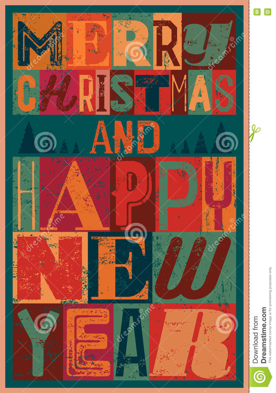 Merry Christmas And Happy New Year. Typographic Vintage Style ...