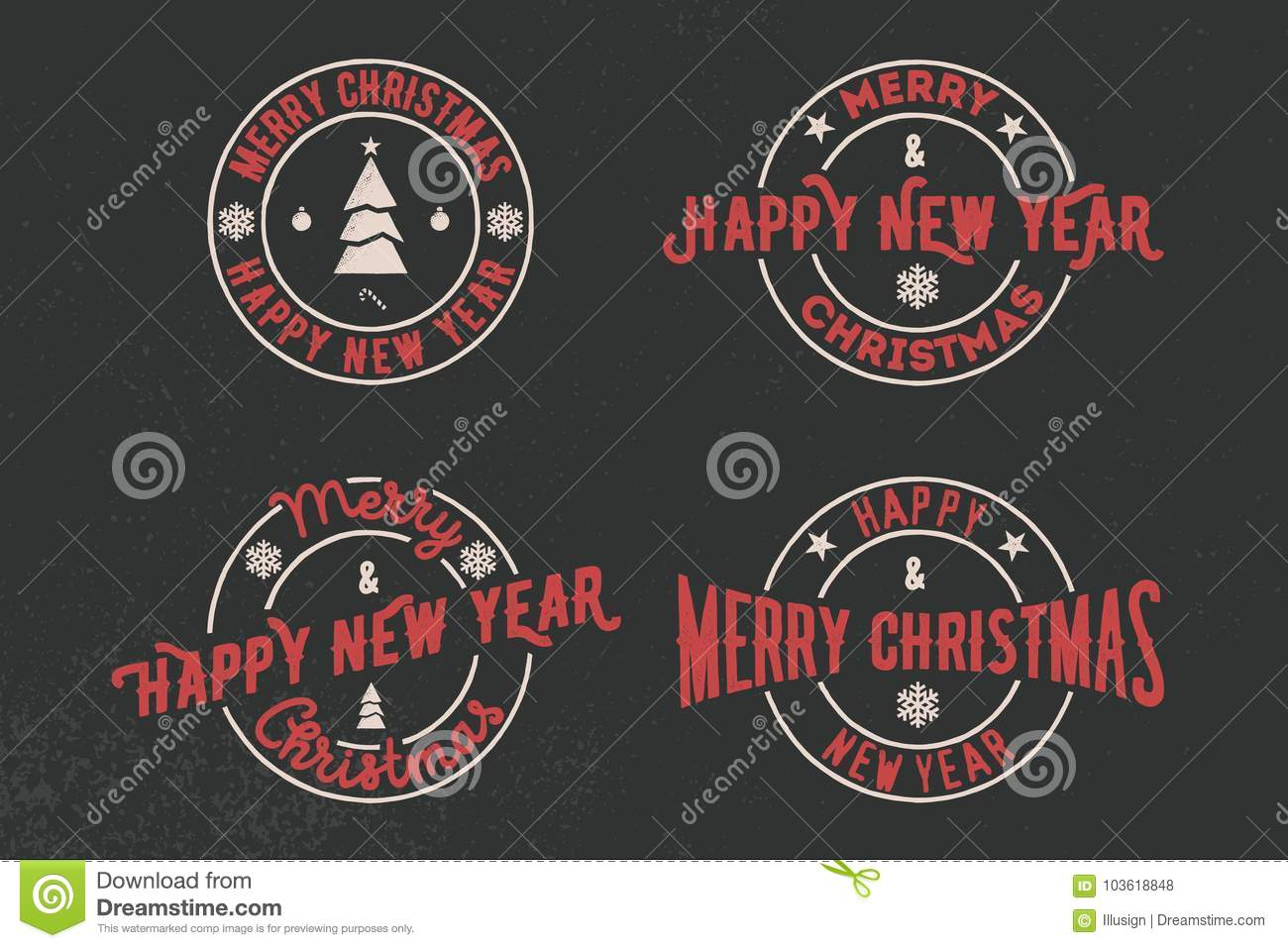 Merry Christmas And Happy New Year Typography Set. Vector Logo ...