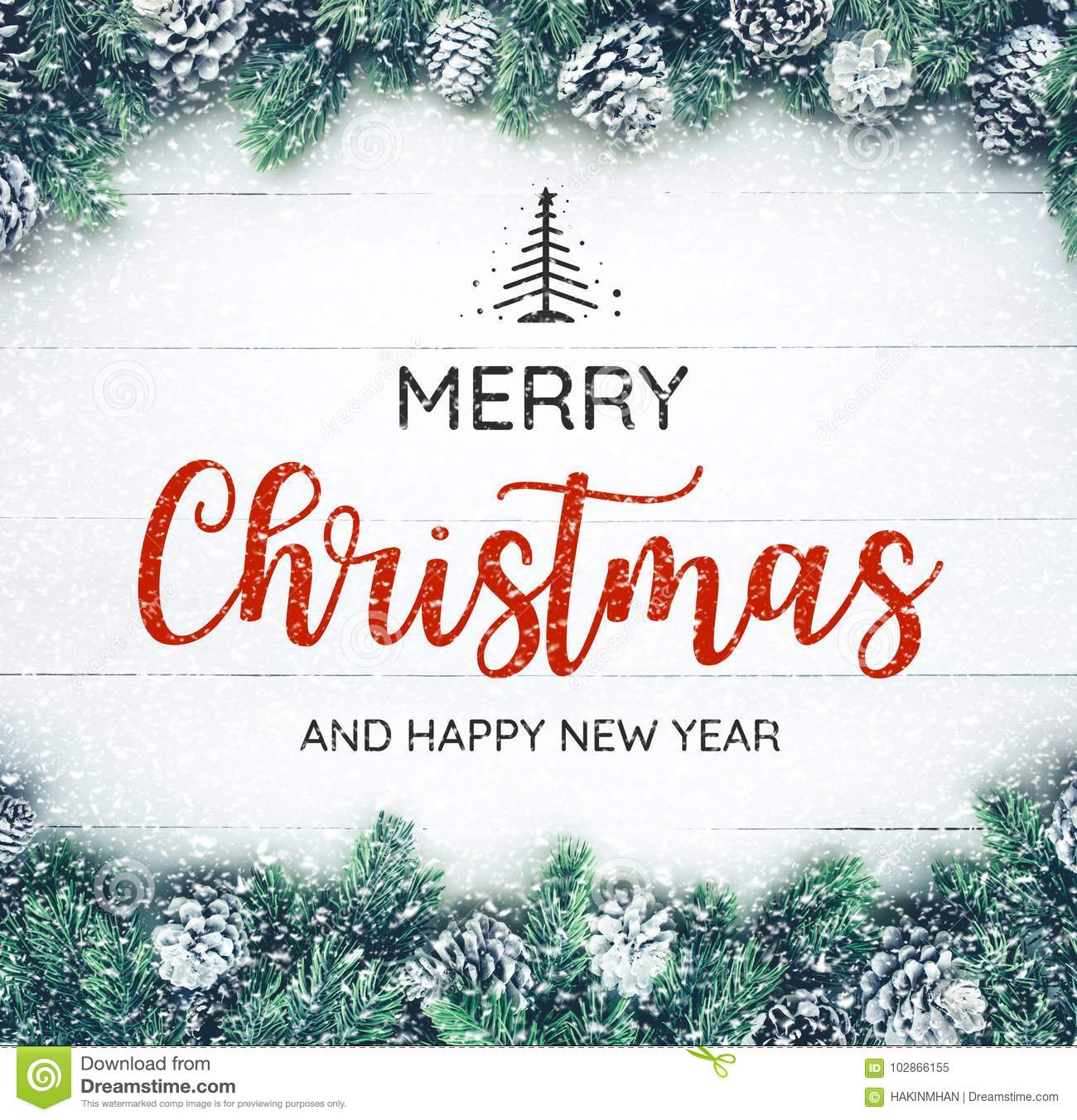 MERRY CHRISTMAS AND HAPPY NEW YEAR typography,text with christmas ornament