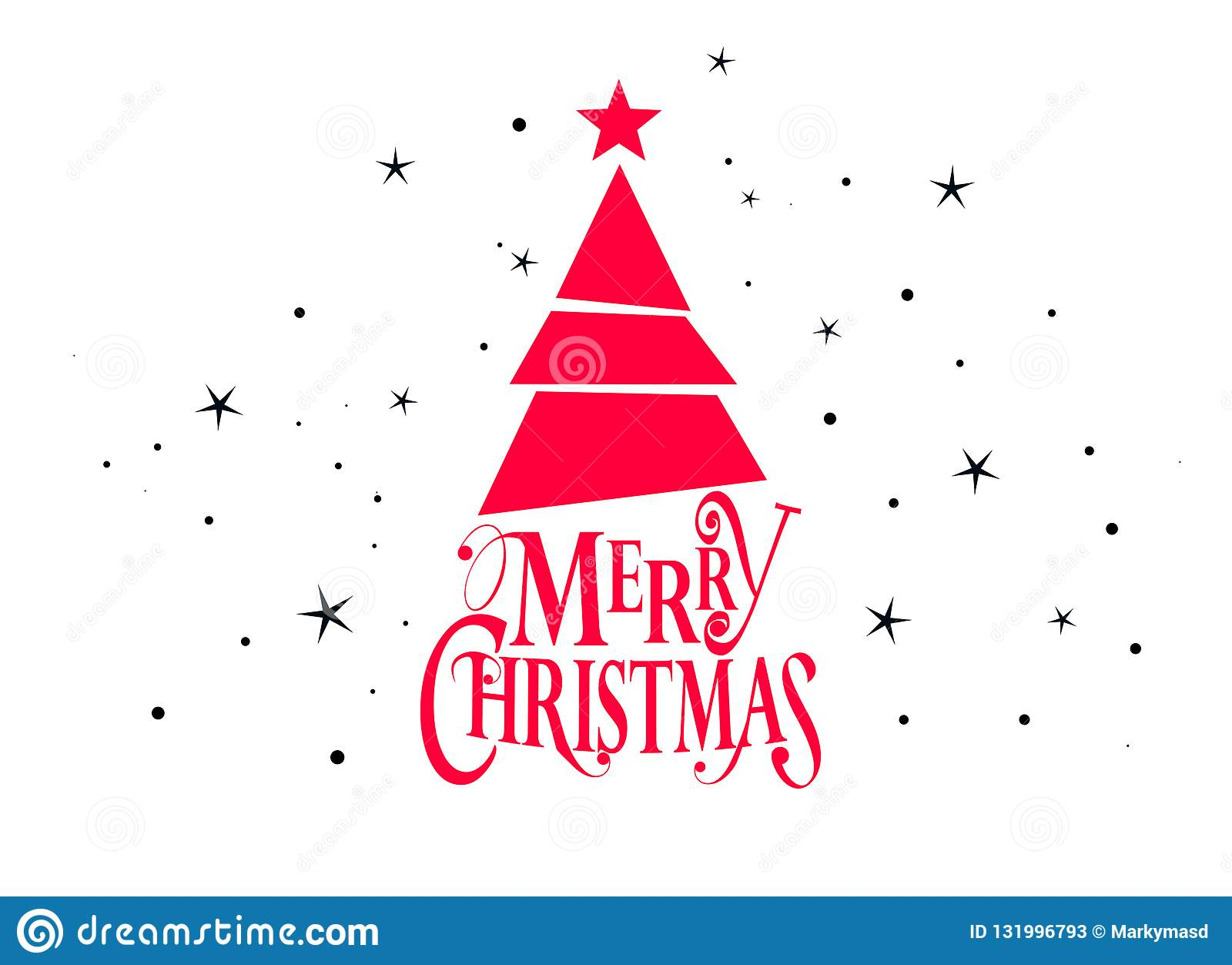 Merry christmas and happy new year vector design with christmas tree and stars