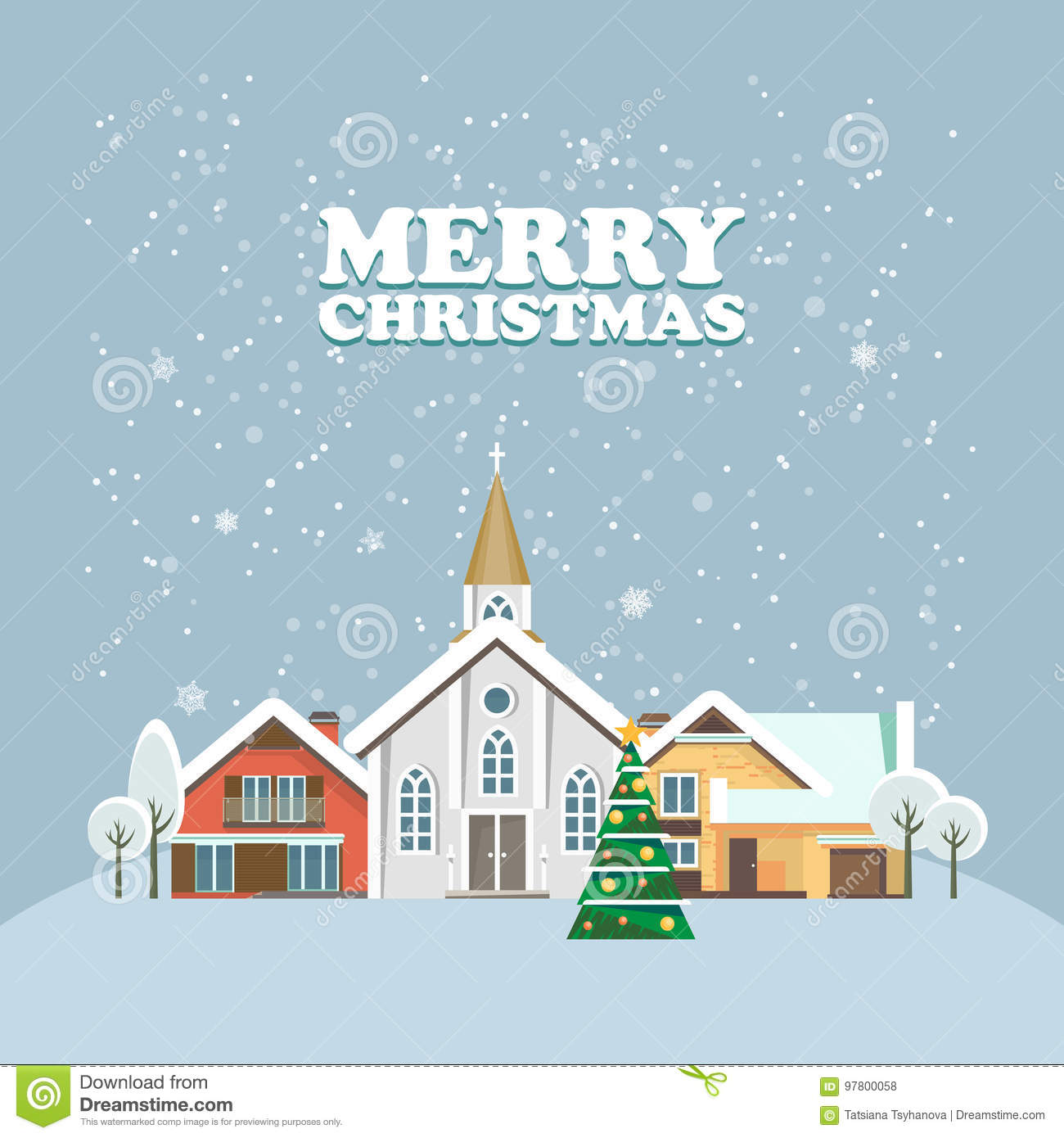 Merry christmas and a happy new year vector greeting card in modern merry christmas and a happy new year vector greeting card in modern flat design christmas town snowy landscape kristyandbryce Gallery
