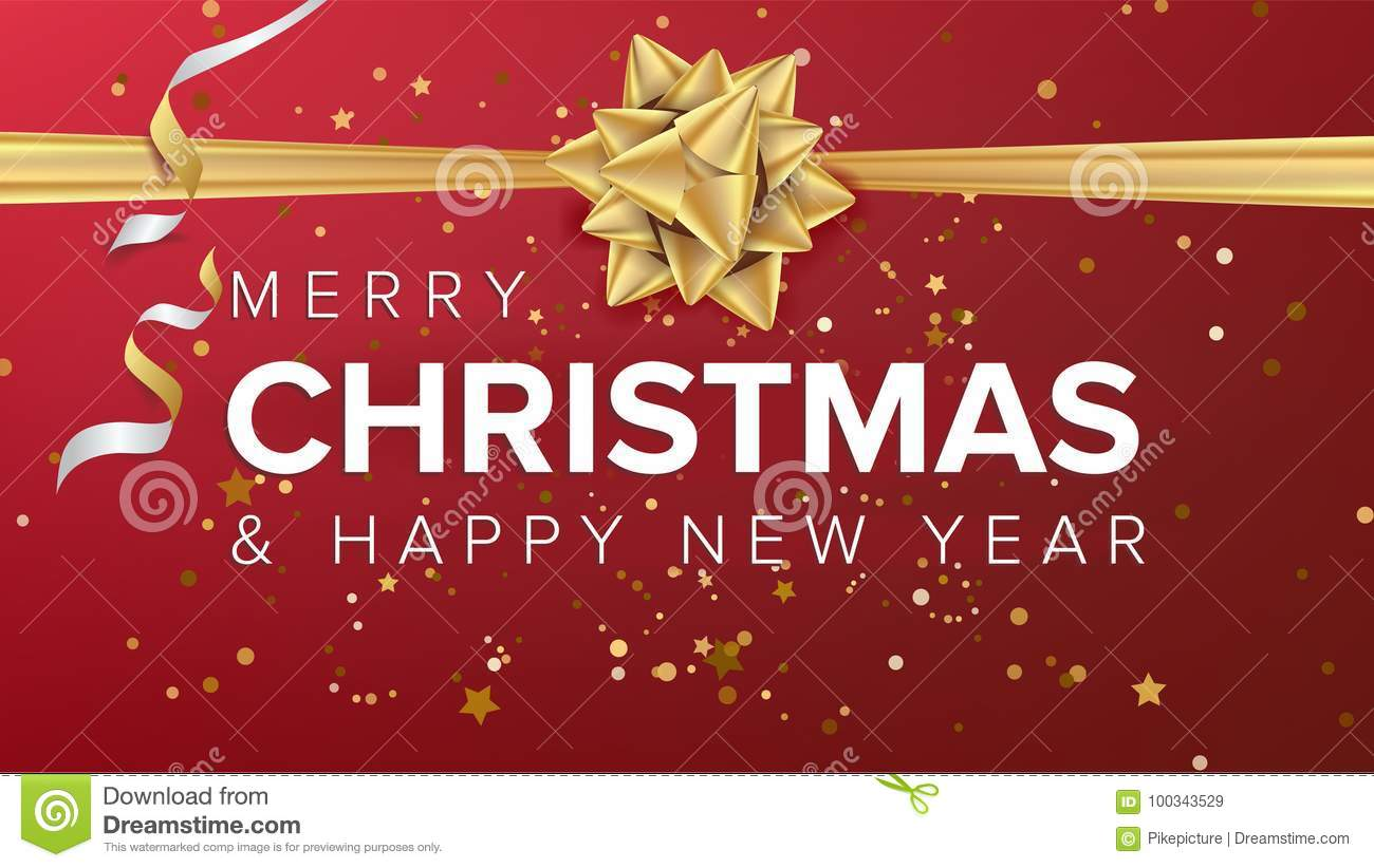 merry christmas and happy new year text vector christmas greeting card poster brochure flyer template design party stock vector illustration of headline greeting 100343529 https www dreamstime com merry christmas happy new year vector greeting card realistic bow xmas modern poster flyer design event holiday illustration image100343529