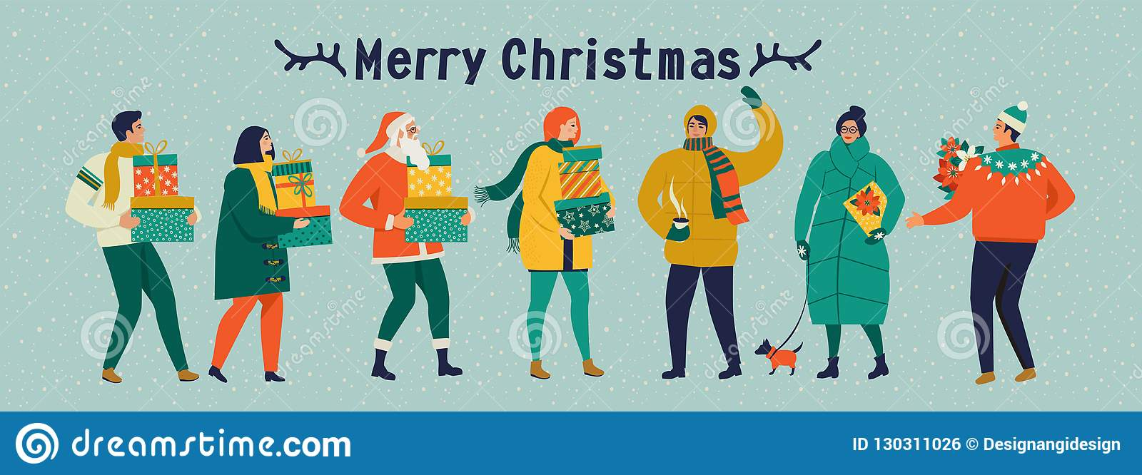 Merry Christmas and happy New year vector greeting card with winter games and people. Celebration template with playing cute peopl