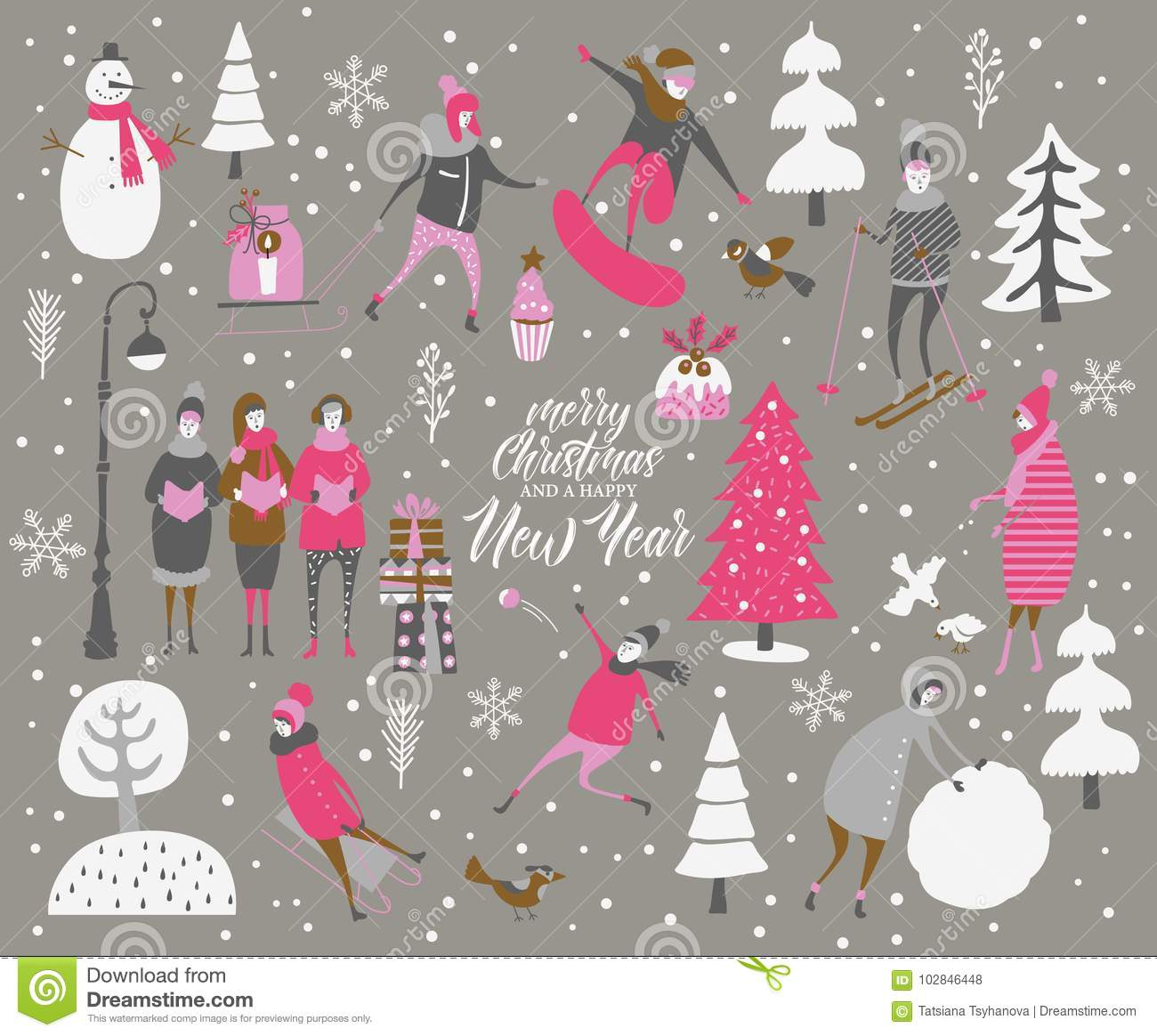 merry christmas and happy new year vector greeting card with winter games and people celebration - Merry Christmas Games