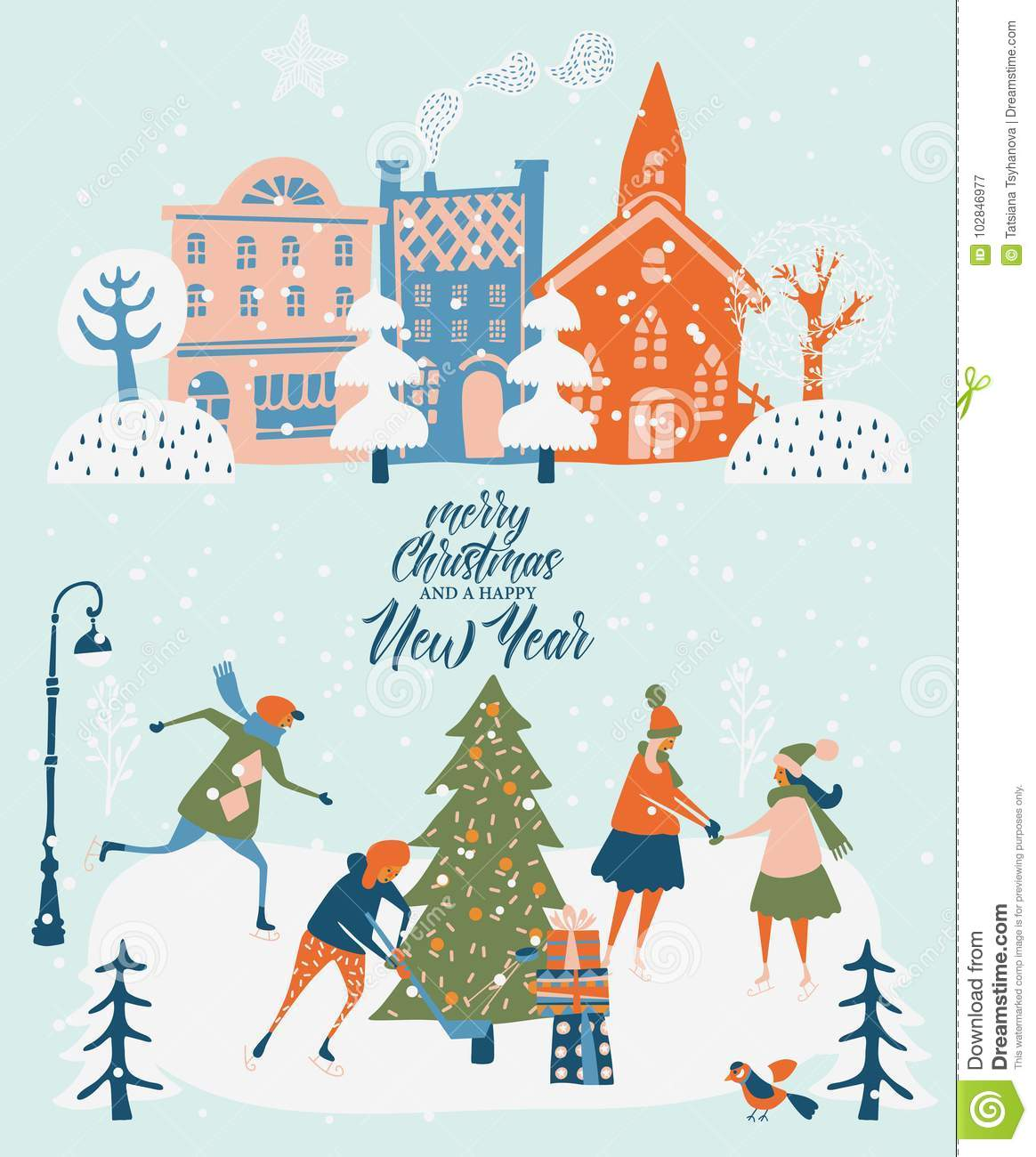 merry christmas and happy new year vector greeting card with winter games and people celebration