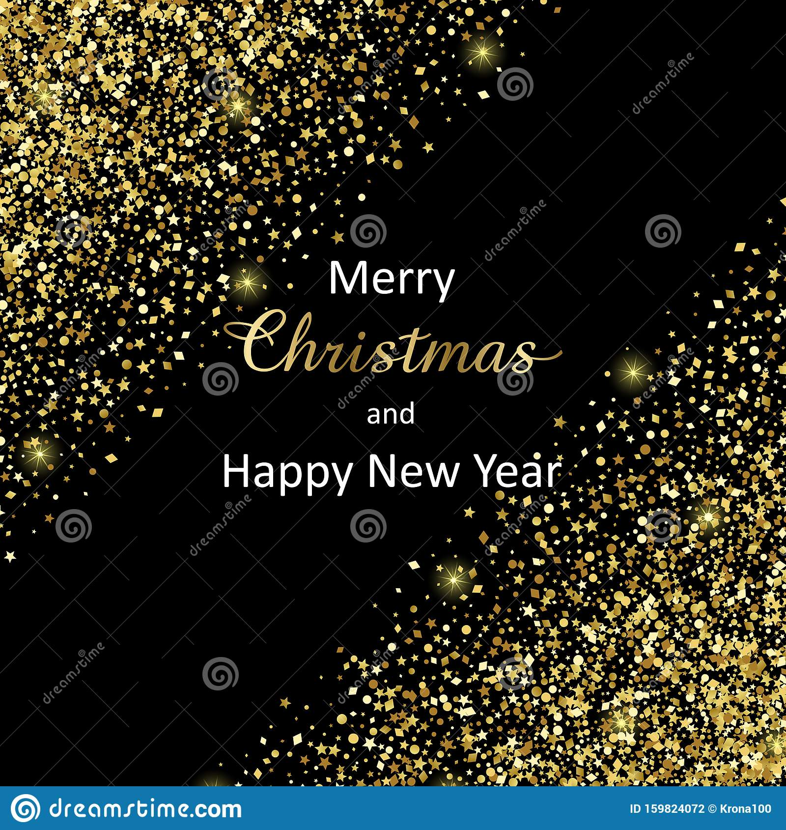 Merry Christmas And Happy New Year 2020 Vector Luxury Greeting Card Stock Vector Illustration Of Design Card 159824072