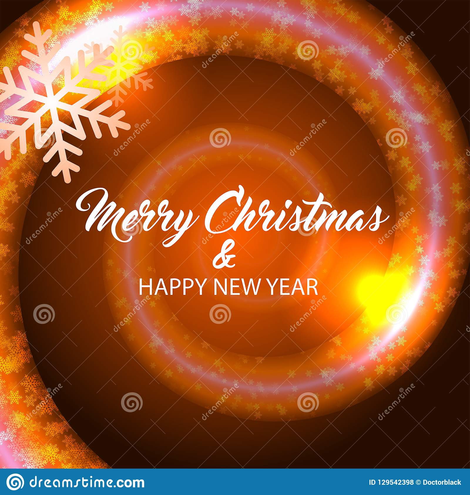 Merry christmas and happy new year. Orange background.