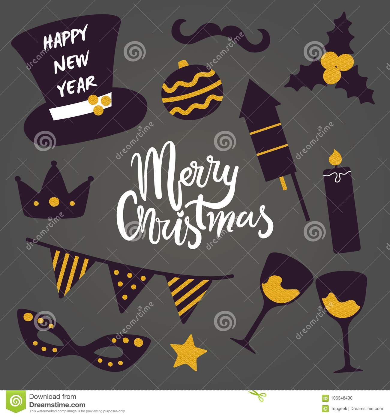 merry christmas happy new year vector pattern