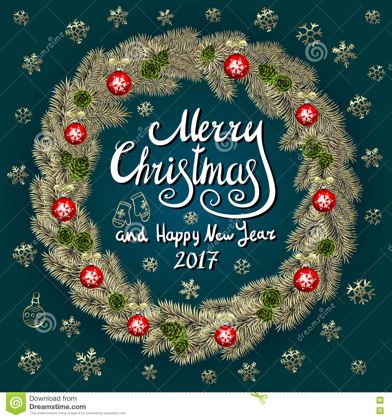 Merry Christmas And Happy New Year 2017 Vintage Background With ...