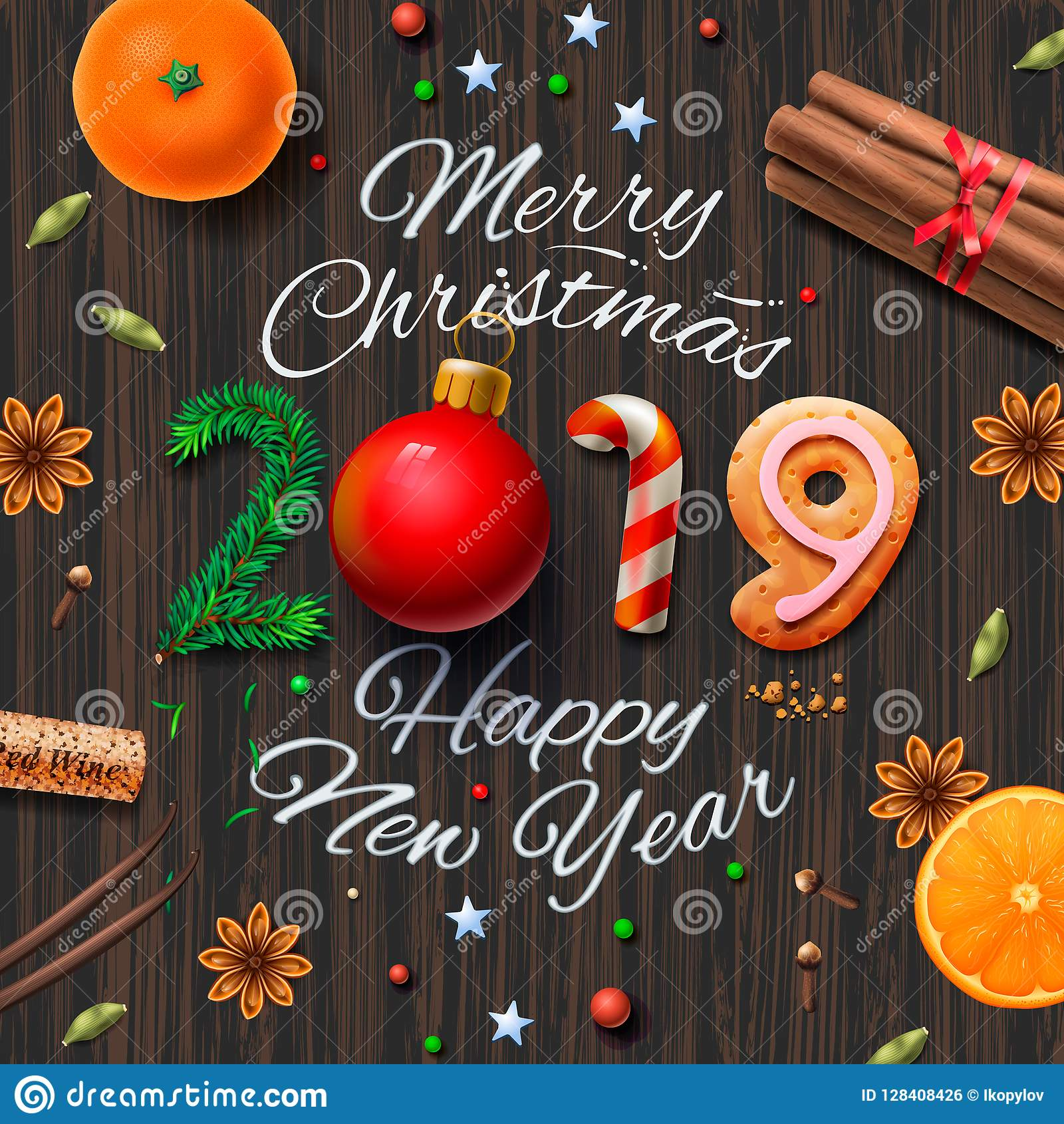 merry christmas happy new year 2019 vintage background with typography and spices for christmas