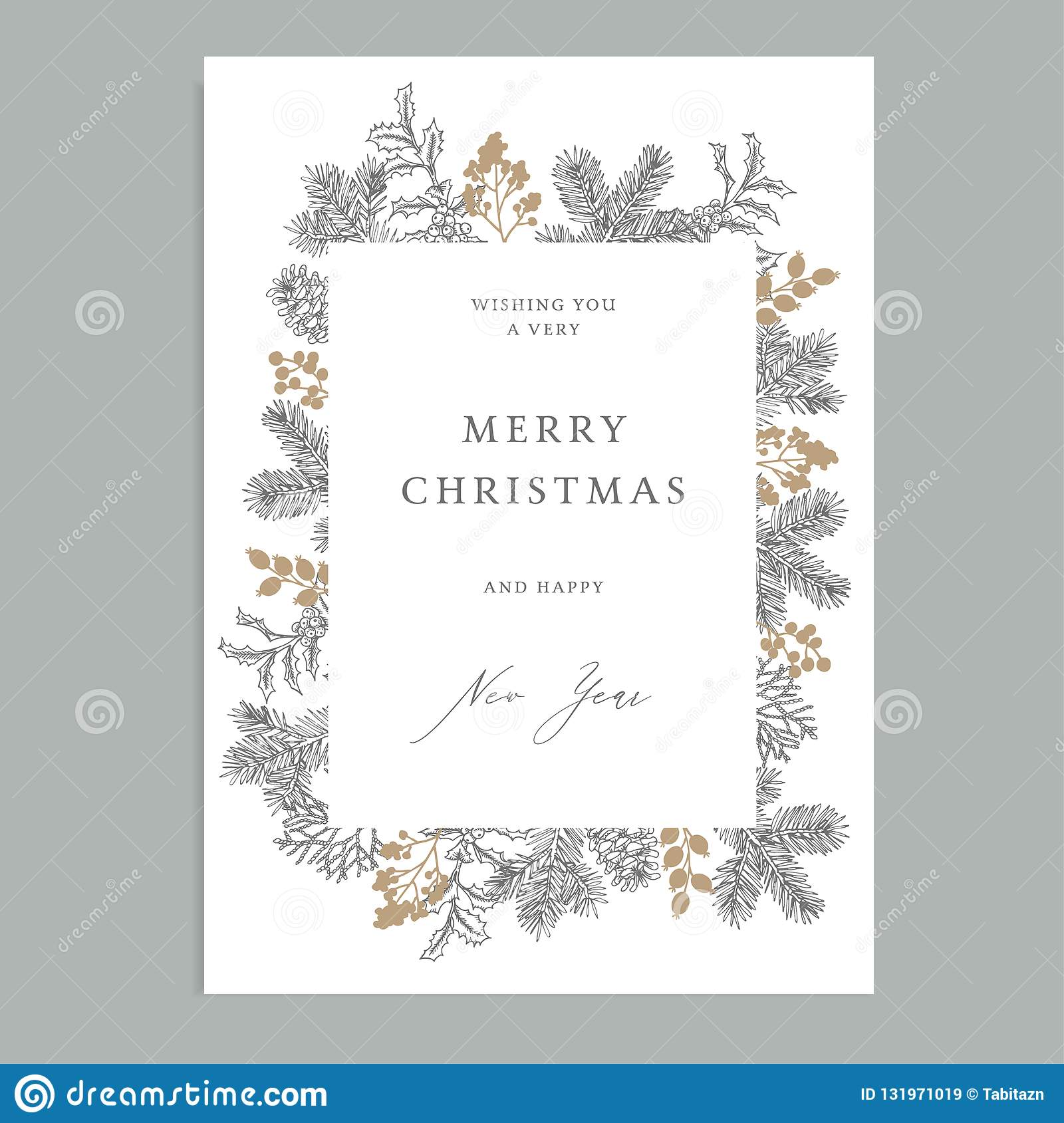 Merry Christmas, Happy New Year vintage floral greeting card, invitation. Holiday frame with evergreen fir tree branches