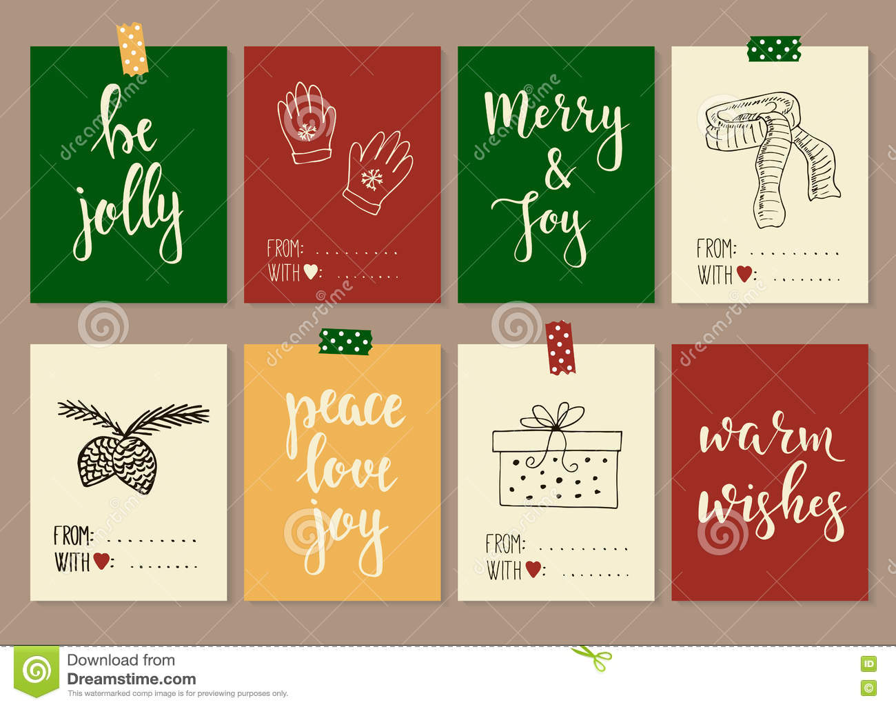 merry christmas and happy new year vintage gift tags cards with calligraphy