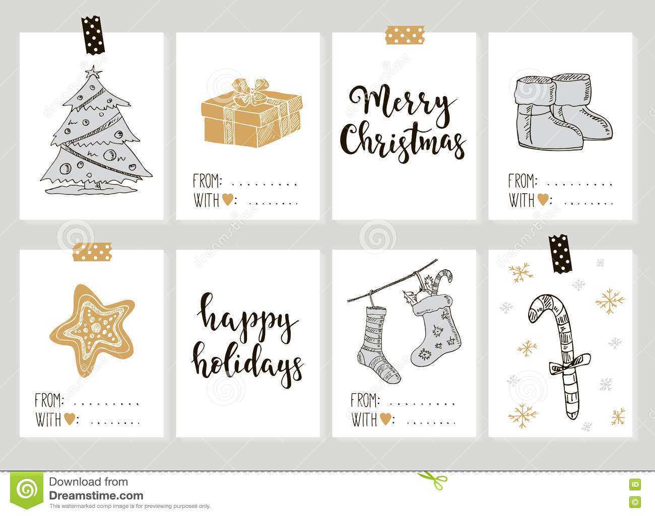 merry christmas and happy new year vintage gift tags cards with calligraphy stock vector. Black Bedroom Furniture Sets. Home Design Ideas