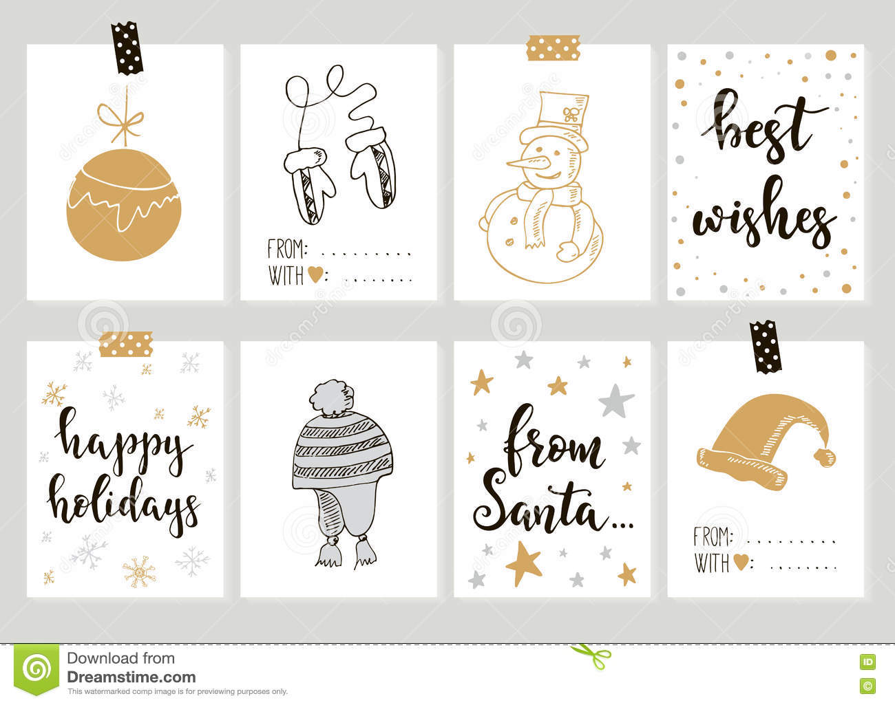 image about Happy New Year Printable titled Merry Xmas And Pleased Fresh Yr Common Reward Tags Playing cards