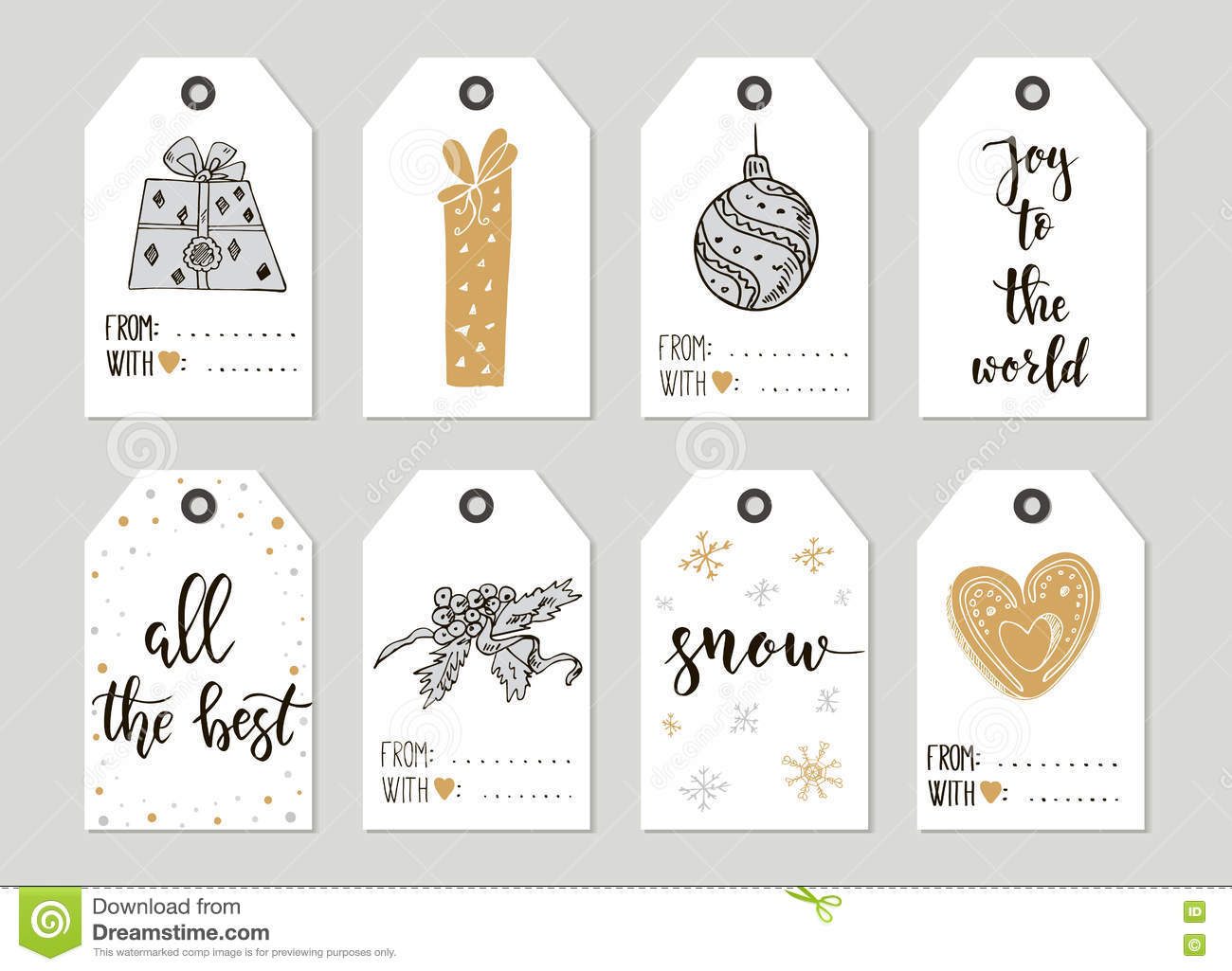 merry christmas and happy new year vintage gift tags and cards with calligraphy handwritten lettering hand drawn design elements printable items