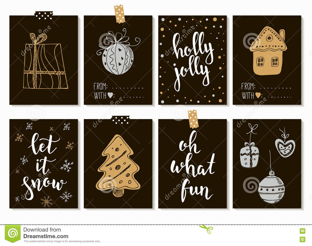 Merry Christmas And Happy New Year Vintage Gift Tags Cards With ...