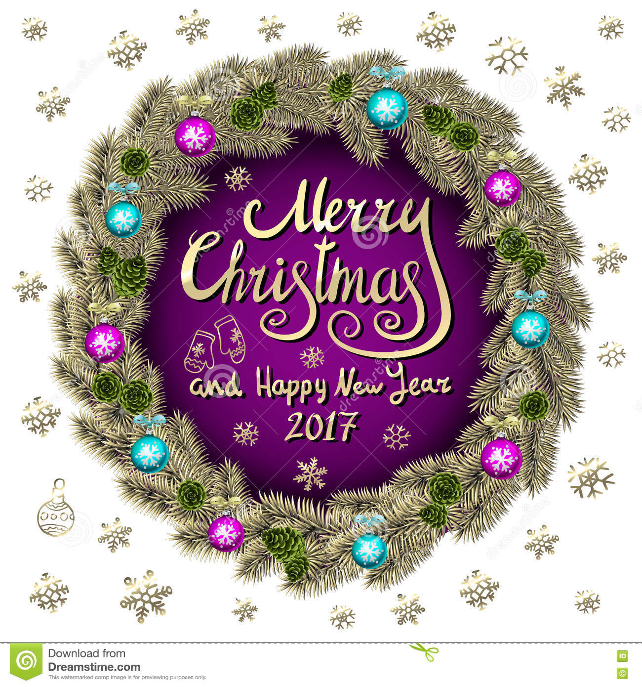 Merry Christmas And Happy New Year 2017 Vintage Purple Background ...