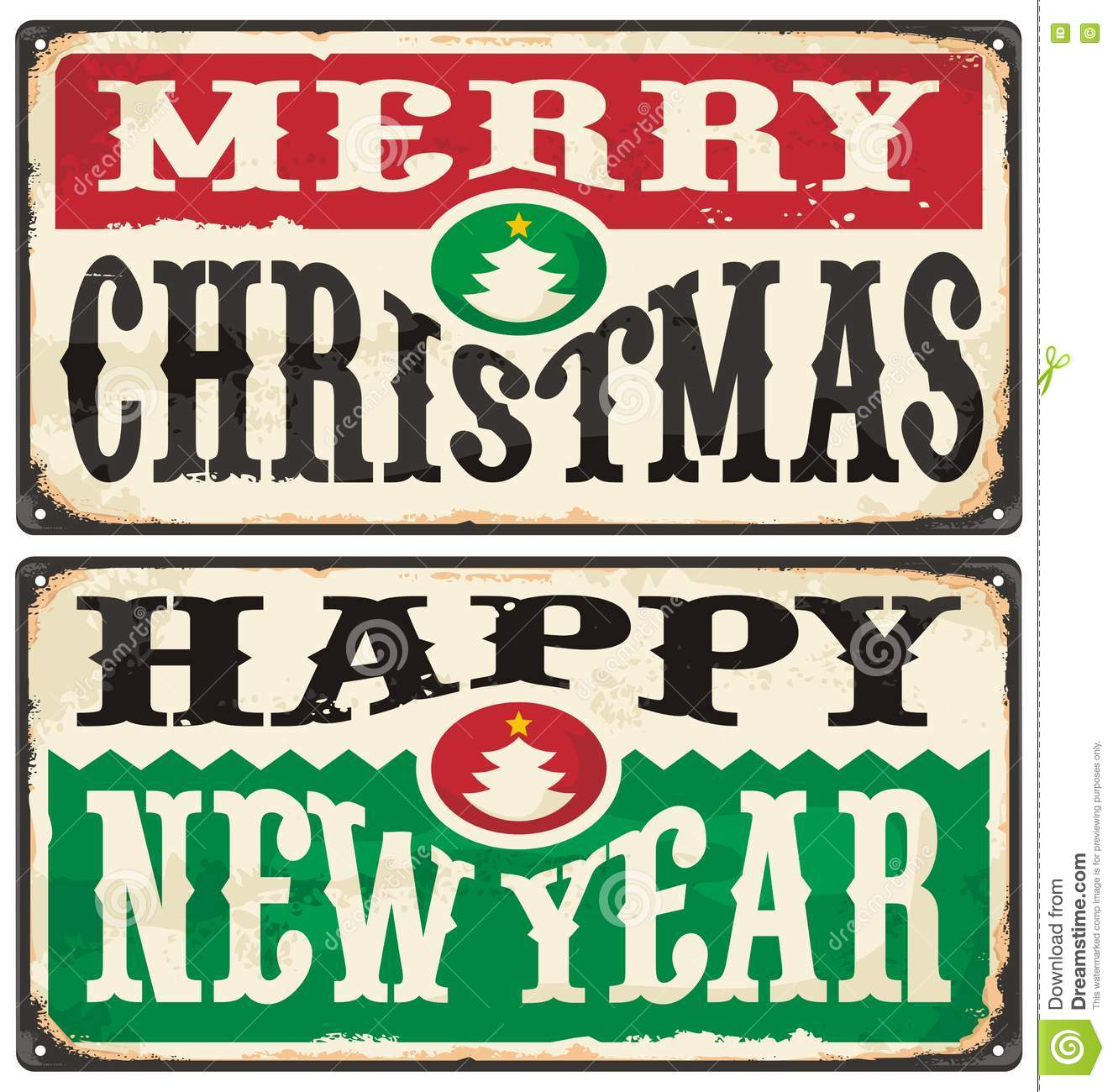 Merry Christmas And Happy New Year Vintage Signs Set Stock Vector