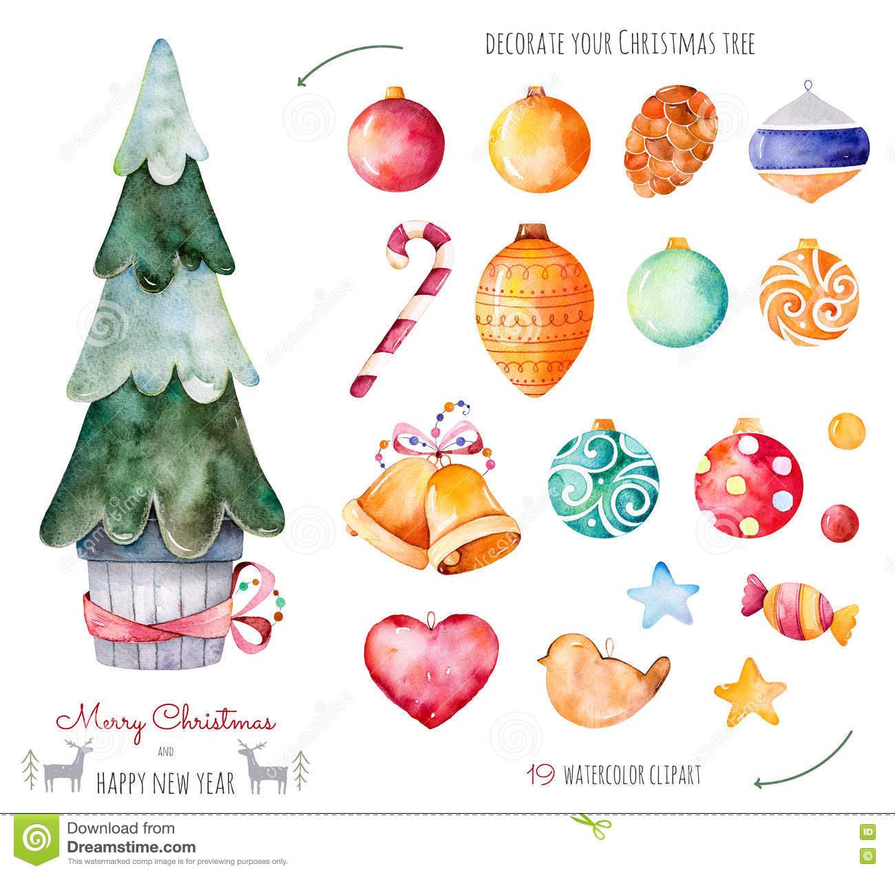 merry christmas and happy new year watercolor set