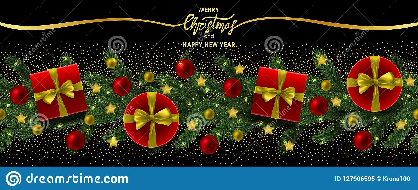 merry christmas and happy new year web banner