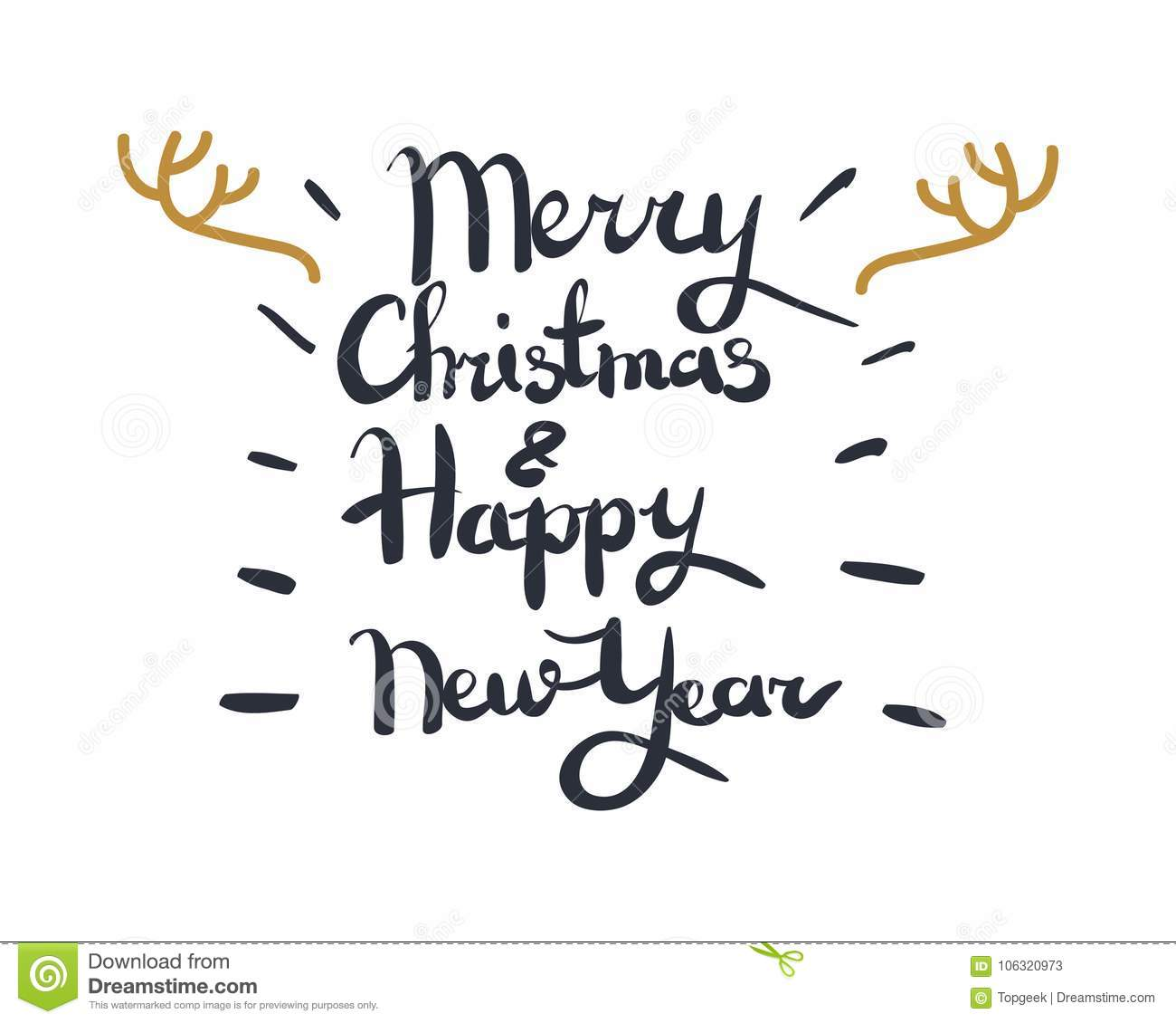 Merry Christmas And Happy New Year Greeting Card Stock Vector ...