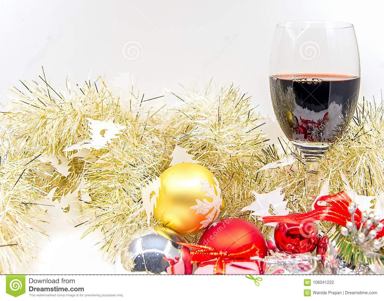 Merry Christmas And Happy New Year With Wine Cheer And Decorative