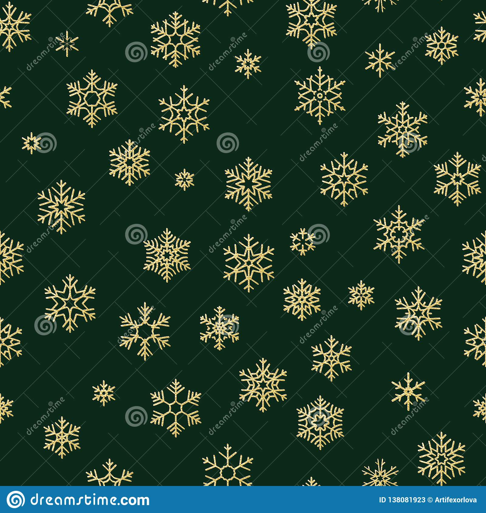 Merry Christmas and Happy New Year winter golden snowflakes seamless pattern. EPS 10