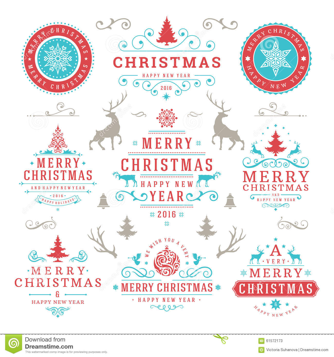 Merry Christmas And Happy New Year Wishes Stock Vector ...