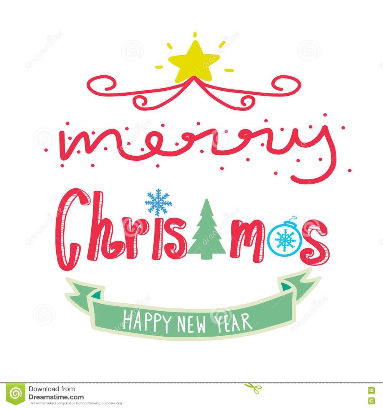 Download Merry Christmas And Happy New Year Word Illustration Stock